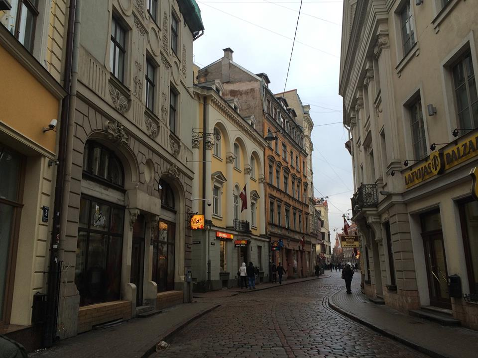 The winding streets of old town Riga