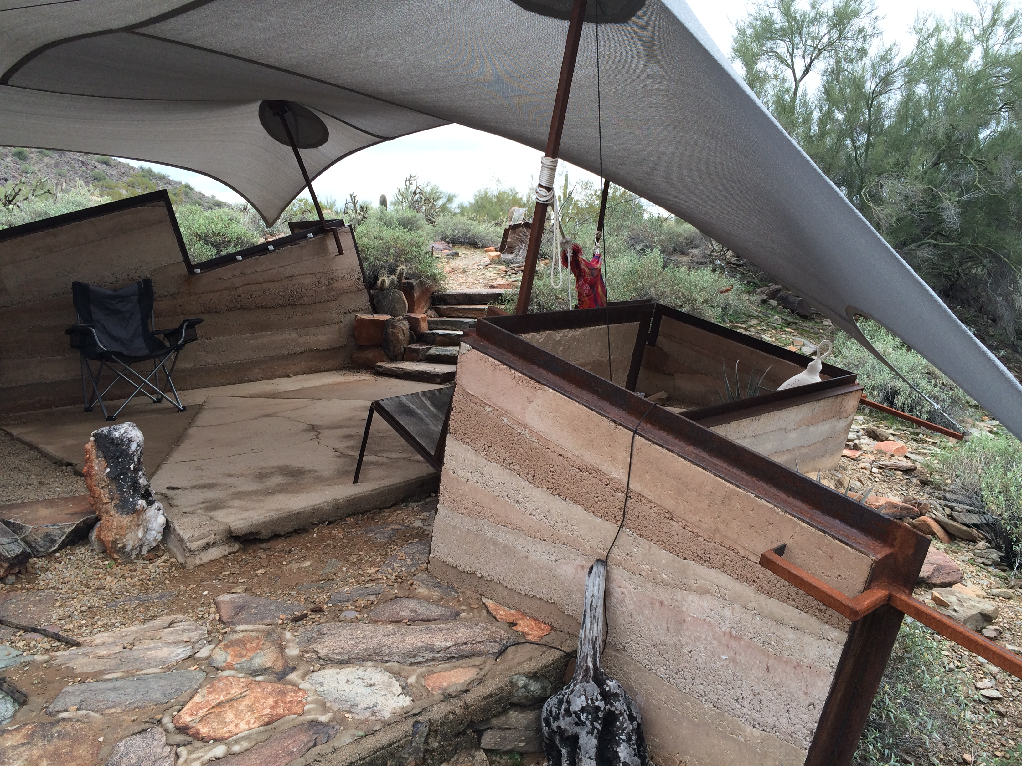 Tent shelter interior. Form inspired by nearby mountain ranges. & The Taliesin West Shelters | MORELAB