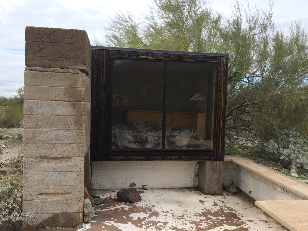 This glass sliding door faces east, turning this shelter into a sweltering oven first thing in the morning. Why?